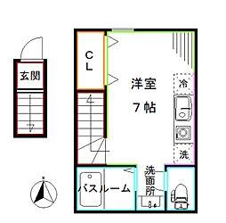 JR総武線 中野駅 徒歩4分の賃貸アパート 2階ワンルームの間取り