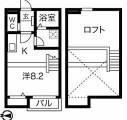 名古屋市営名城線 ナゴヤドーム前矢田駅 徒歩10分の賃貸アパート 1階ワンルームの間取り
