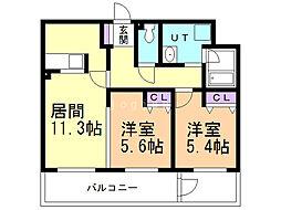 ALPHA STAGE Sapporo 3階2LDKの間取り
