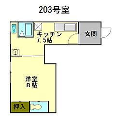 北海道小樽市山田町の賃貸アパートの間取り