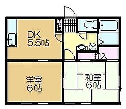 千葉県佐倉市田町の賃貸アパートの間取り