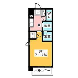 ヴィークブライト名古屋新栄 7階1Kの間取り