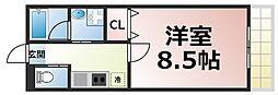 近鉄大阪線 布施駅 徒歩8分の賃貸マンション 9階1Kの間取り