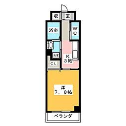 愛知県名古屋市中区正木3丁目の賃貸マンションの間取り