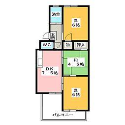 六軒屋農住団地コーポ松栄[2階]の間取り