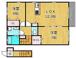 大阪府枚方市長尾家具町4丁目の賃貸アパートの間取り