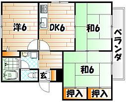 ガーデンハイツみやこ B棟[2階]の間取り