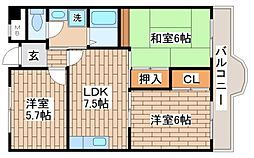 兵庫県神戸市須磨区妙法寺字竹向イの賃貸マンションの間取り