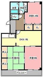 静岡県浜松市東区中田町の賃貸マンションの間取り