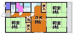 岡山県倉敷市石見町の賃貸マンションの間取り