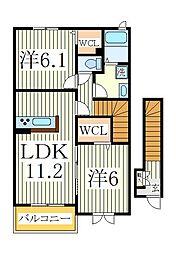 アジャート ビブレI[2階]の間取り