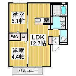 ブランノワール 1階2LDKの間取り