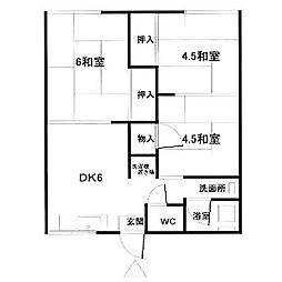 福岡県中間市大辻町の賃貸アパートの間取り