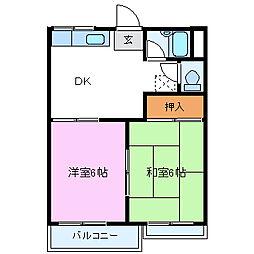 静岡県裾野市茶畑の賃貸アパートの間取り