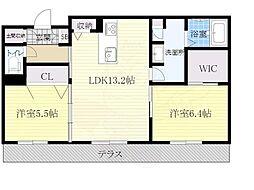 大阪モノレール本線 万博記念公園駅 徒歩14分の賃貸マンション 1階2LDKの間取り