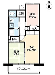 URシャレール東豊中 8階2DKの間取り