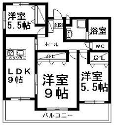 レアールカーサK[3階]の間取り