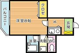 ロイヤルシャトー桃園[4階]の間取り