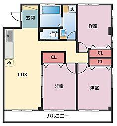神奈川県横浜市鶴見区上末吉2丁目の賃貸マンションの間取り