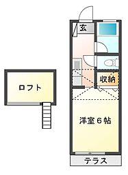 カサフローラ安斎[1階]の間取り