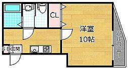 カーサ・ルチア宮之阪 1階1Kの間取り