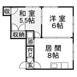 北海道札幌市豊平区美園八条2丁目の賃貸アパートの間取り