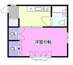 東京都小平市学園東町の賃貸アパートの間取り