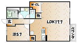 福岡県北九州市小倉南区南方3丁目の賃貸アパートの間取り