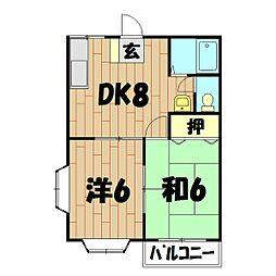 ベルシティE棟[2階]の間取り