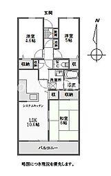 徳島県徳島市南矢三町3丁目の賃貸マンションの間取り
