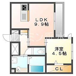 兵庫県神戸市垂水区大町2丁目の賃貸アパートの間取り