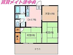 三重県津市柳山津興の賃貸アパートの間取り