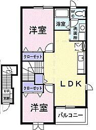 クレストールユキ C[203号室]の間取り