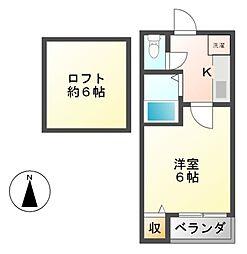 愛知県名古屋市熱田区比々野町の賃貸アパートの間取り
