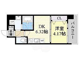 プレジオ江坂2 4階1DKの間取り