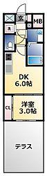 オリエンテム 1階1DKの間取り