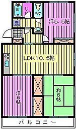 ソシア・アマヌマ[201号室]の間取り