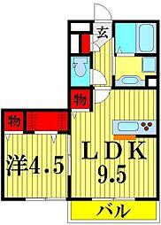 埼玉県越谷市大沢4丁目の賃貸アパートの間取り