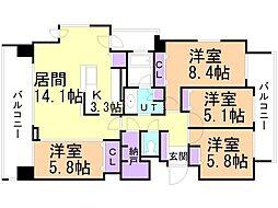 ブランズ札幌桑園駅前イースト 2階4LDKの間取り