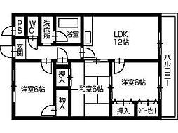 徳島県徳島市南昭和町6丁目の賃貸アパートの間取り