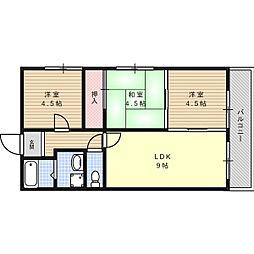 シャトー三島野[2階]の間取り