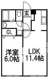 北海道札幌市豊平区月寒東二条6丁目の賃貸マンションの間取り