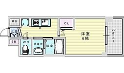 Osaka Metro御堂筋線 西中島南方駅 徒歩9分の賃貸マンション 4階1Kの間取り
