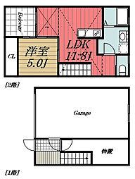 京成千原線 おゆみ野駅 徒歩19分の賃貸アパート 1階1SLDKの間取り