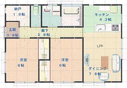 [一戸建] 福島県いわき市常磐下船尾町居作 の賃貸【福島県 / いわき市】の間取り