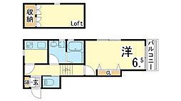 神戸市西神・山手線 長田駅 徒歩10分の賃貸アパート 2階1SKの間取り
