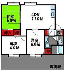 福岡県福岡市東区和白6丁目の賃貸アパートの間取り