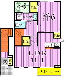 千葉県松戸市新松戸南3丁目の賃貸アパートの間取り