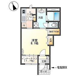取手市本郷三丁目新築アパート 1階1Kの間取り