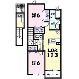 シャトレ小竹III[2階]の間取り